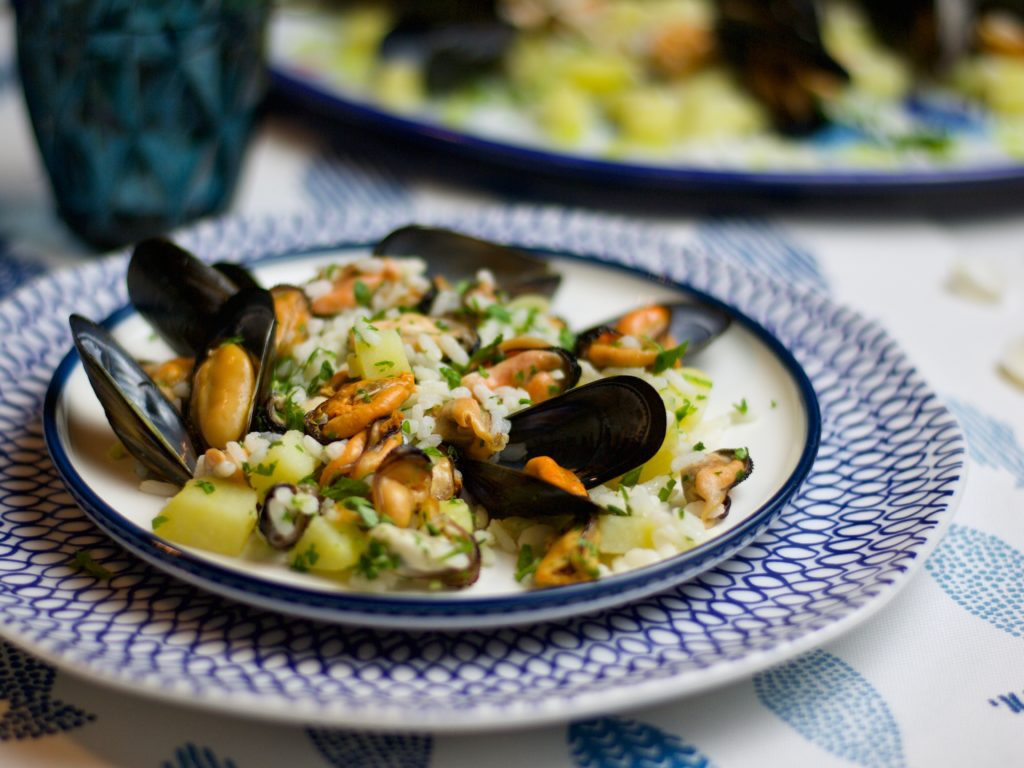 riso, potatoes and mussels